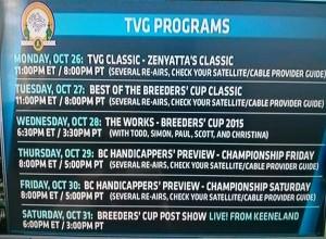 tvg breeders cup 2015 schedule