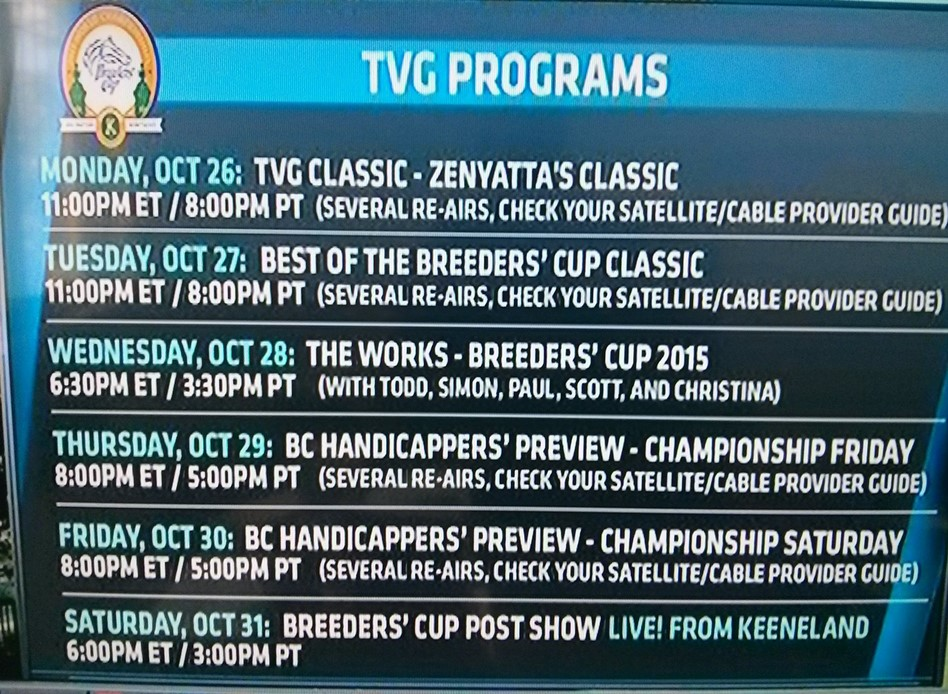 2015 Breeders Cup Tv Schedule A Game Of Skill