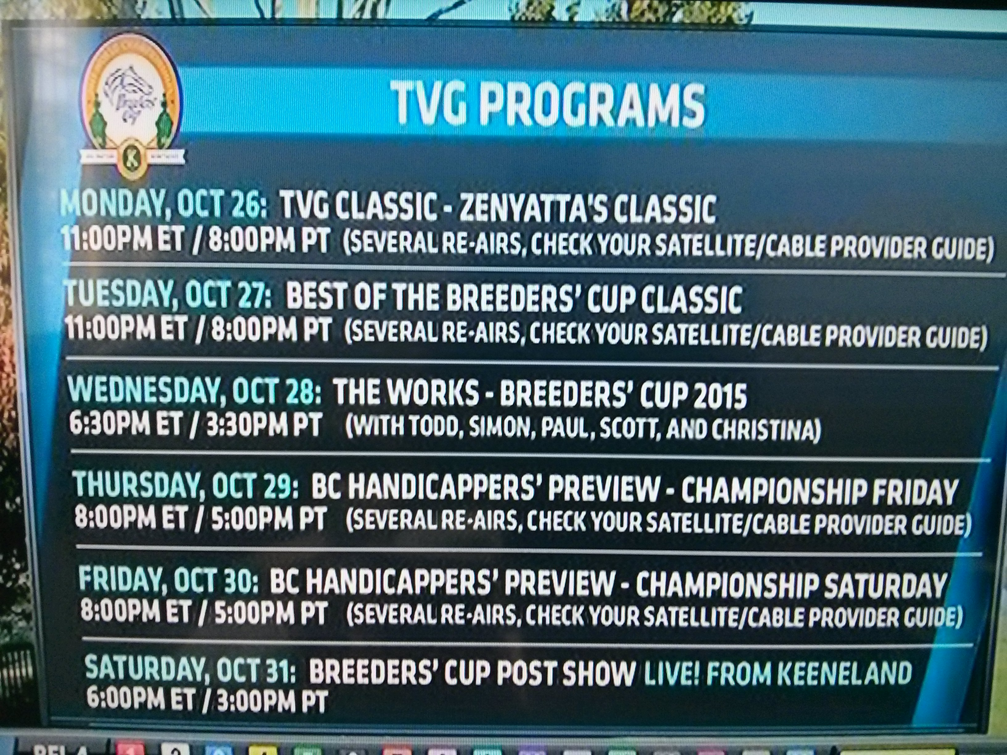 2015 Breeders' Cup TV schedule