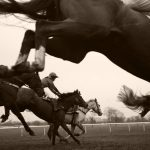 Steeplechase scene black white